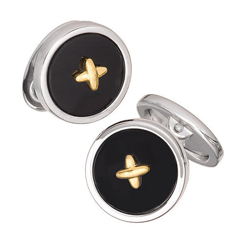 Gemstone Button Cufflinks with 24K Gold Vermeil Thread