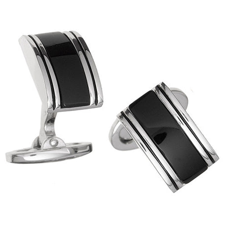 Black Onyx Rounded Rectangular Gemstone Cufflinks by Jan Leslie