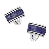 Blue Lapis Rounded Rectangular Gemstone Cufflinks by Jan Leslie