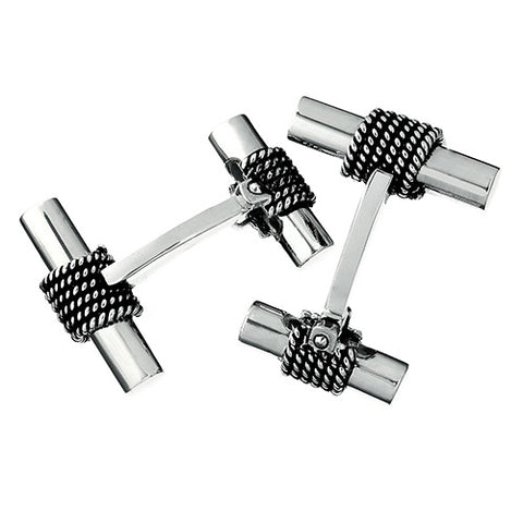 Sterling Silver Tube Cufflinks with Rope Detail