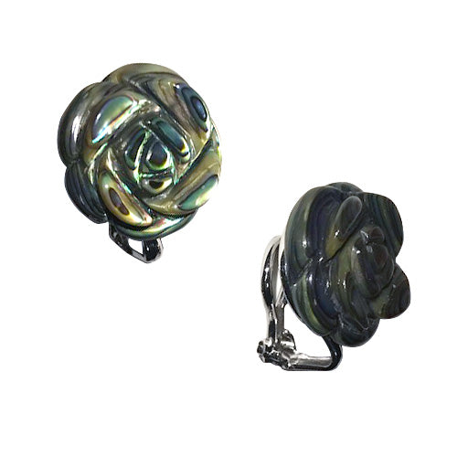 Hand-Carved Gemstone Rose Clip Earrings - Jan Leslie Cufflinks and Accessories