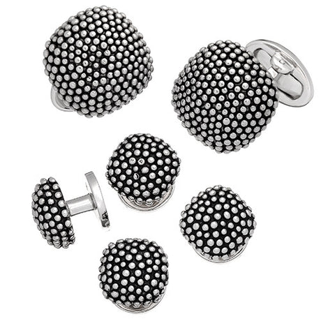 Granulated Soft Square Domed Tuxedo Set - Cufflinks and Studs - Jan Leslie Cufflinks and Accessories