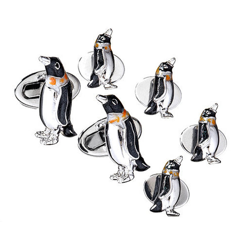 Enameled Penguin Tuxedo Formal Set - Cufflinks and Studs