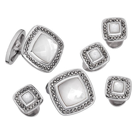 Gemstone Square with Faceted Rims Tuxedo Formal Set - Cuff Links and Studs