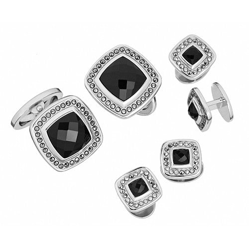 Black Onyx Gemstone Square with Faceted Rims Tuxedo Formal Set