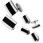 Black Onyx Tuxedo Cufflinks and Studs in Thin Rectangle by Jan Leslie