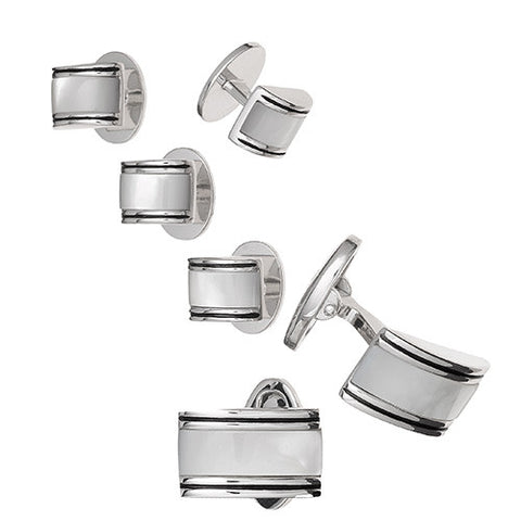Rectangular Curved Gemstone Tuxedo Formal Set - Cufflinks and Studs
