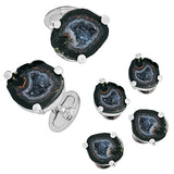 Drusy Crystallized Gemstone Cufflinks and Studs - Black