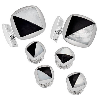 Mother of Pearl and Onyx Tuxedo Cufflinks and Studs - Jan Leslie Cufflinks and Accessories