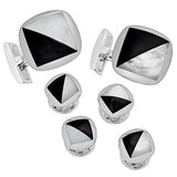Mother of Pearl and Onyx Tuxedo Cufflinks and Studs by Jan Leslie