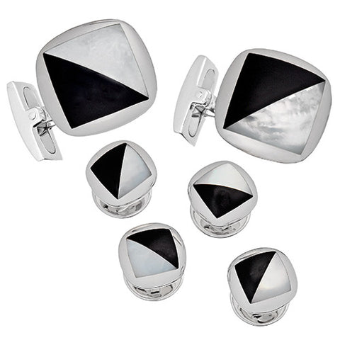 Mother of Pearl and Onyx Tuxedo Cufflinks and Studs
