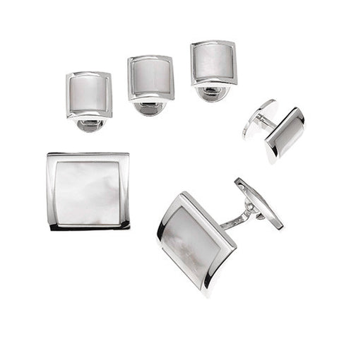 Square Domed Gemstone Tuxedo Formal Set - Cufflinks and Studs
