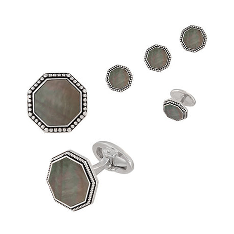 Octagon Gemstone Cufflinks and Tuxedo Studs with Antique Border - Jan Leslie Cufflinks and Accessories