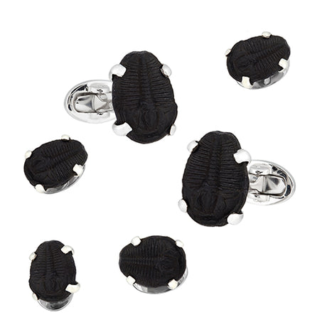 Delta Trilobyte Sterling Silver Cufflink and Stud Set - Jan Leslie Cufflinks and Accessories