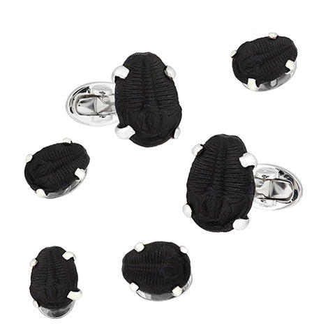 Delta Trilobyte Sterling Silver Cufflink and Stud Set