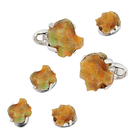Ethiopian Opal Sterling Silver Tuxedo Formal Set - Jan Leslie Cufflinks and Accessories