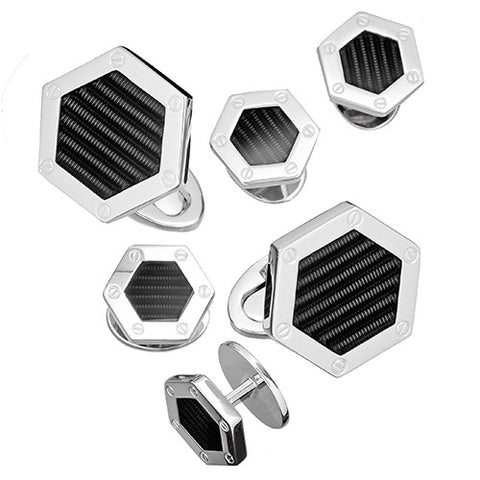 Silver Hexagon Tuxedo Formal Set - Cufflinks and Studs