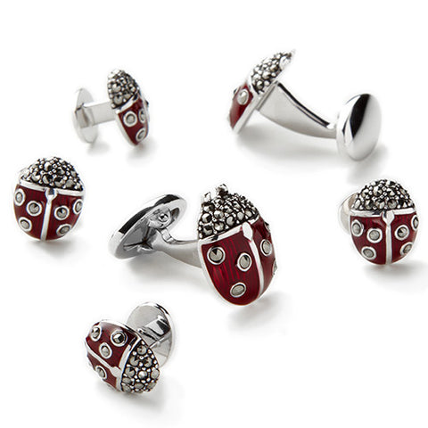 Marcasite and Enamel Ladybug Tuxedo Formal Set - Cufflinks and Studs