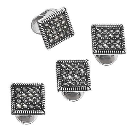 Marcasite Pave Tuxedo Studs by Jan Leslie