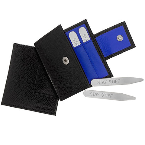 Collar Stays and Leather Case Combination