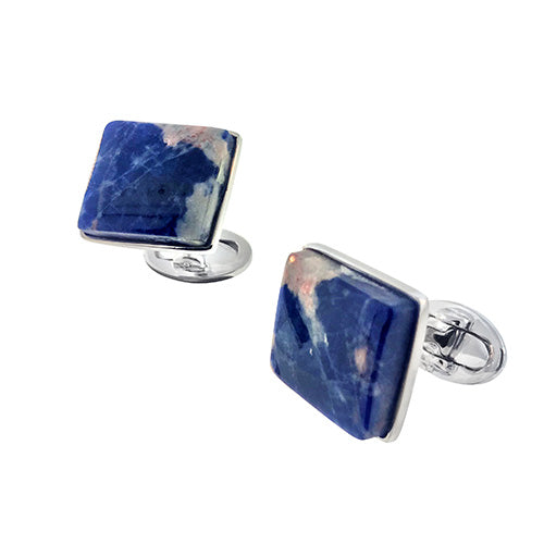 Sodalite Pebble Sterling Silver Cufflinks