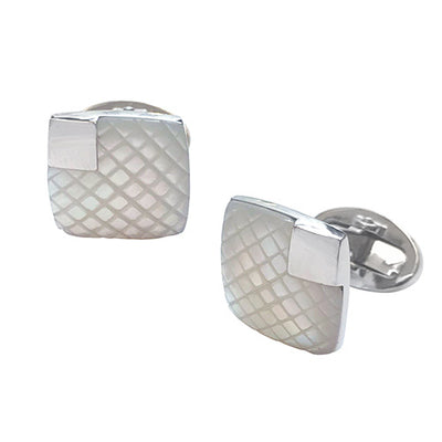 Gemstone Cufflinks with Diamond Pattern and Square Detail Cufflinks Jan Leslie Mother of Pearl Soft Square Jan Leslie