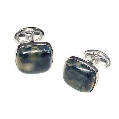 Pietersite Sterling Silver Cufflinks Cufflinks Jan Leslie Cufflinks and Accessories Square Jan Leslie