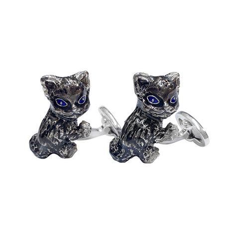 Bobblehead Kitten Sterling Silver Cufflinks Cufflinks Jan Leslie Cufflinks and Accessories Jan Leslie