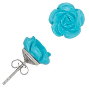 Hand-Carved Gemstone Rose Stud Earrings - Jan Leslie Cufflinks and Accessories