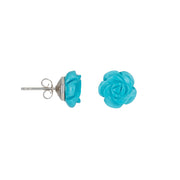 Hand-Carved Gemstone Rose Stud Sterling Silver Earrings