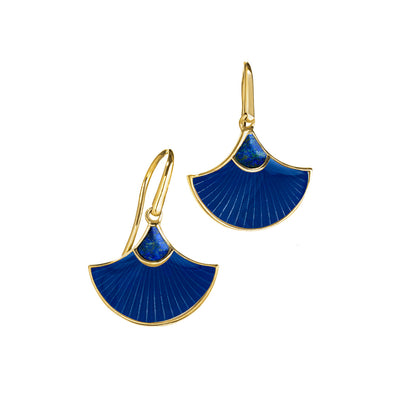 fan lapis and blue gold dangle earrings