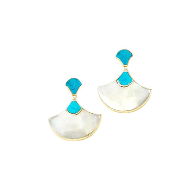 gemstone turquoise and mother of pearl fan earrings