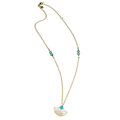 mother of pearl and turquoise fan pendant necklace