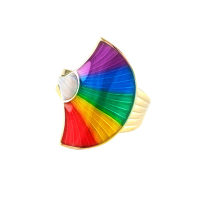 mother of pearl rainbow gold fan ring