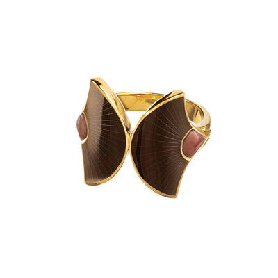 brown mother of pearl fan double ring