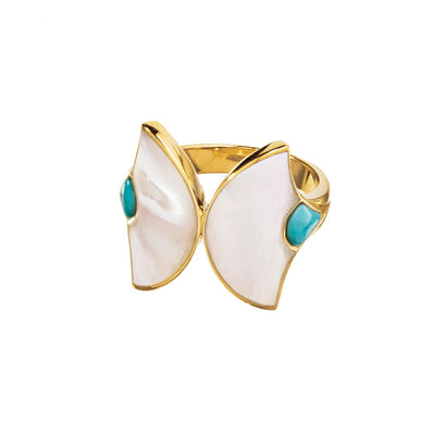 turquoise mother of pearl fan double ring