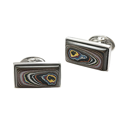 Fordite Sterling Silver Cufflinks Cufflinks Jan Leslie Cufflinks and Accessories Brown-2 Jan Leslie