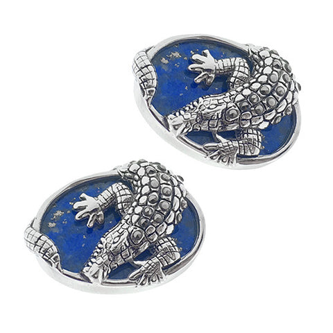 Sterling Silver Gemstone Alligator Cufflinks