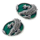Sterling Silver Gemstone Alligator Cufflinks - Jan Leslie Cufflinks and Accessories