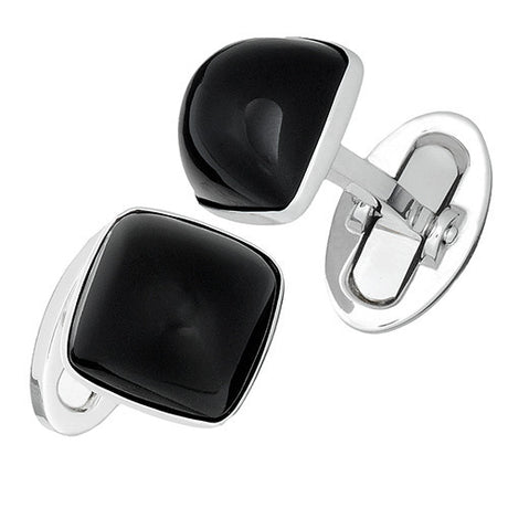Black Onyx Gemstone Soft Square Domed Cufflinks - Jan Leslie Cufflinks and Accessories