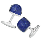 Blue Lapis Gemstone Soft Square Domed Cufflinks by Jan Leslie