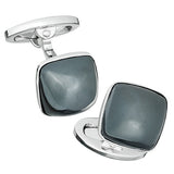 Grey Hematite Gemstone Soft Square Domed Cufflinks by Jan Leslie