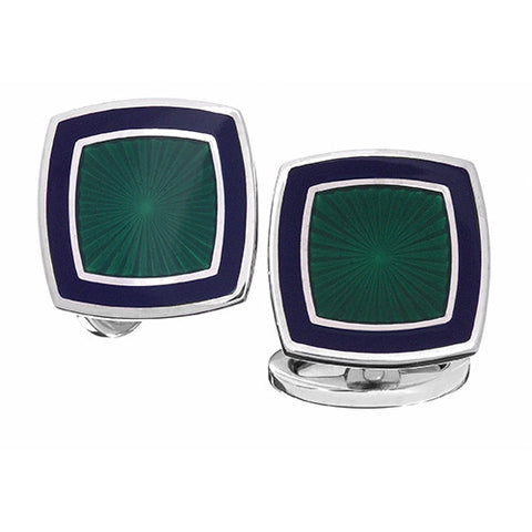 English Enamel Soft Square Cufflinks in Vibrant Colors