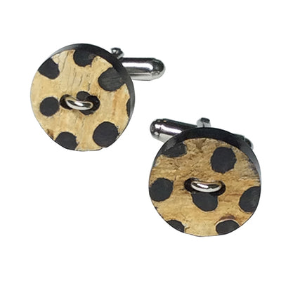Spotted Wood Button Sterling Silver Cufflinks Sale Only Jan Leslie Jan Leslie
