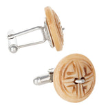 Light Brown Carved Wood Button Cufflinks by Jan Leslie