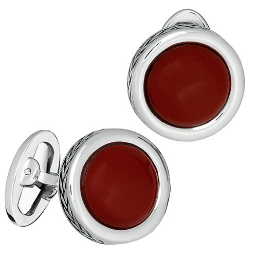 Red Coral Gemstone Button Cufflinks with Braided Rims by Jan Leslie