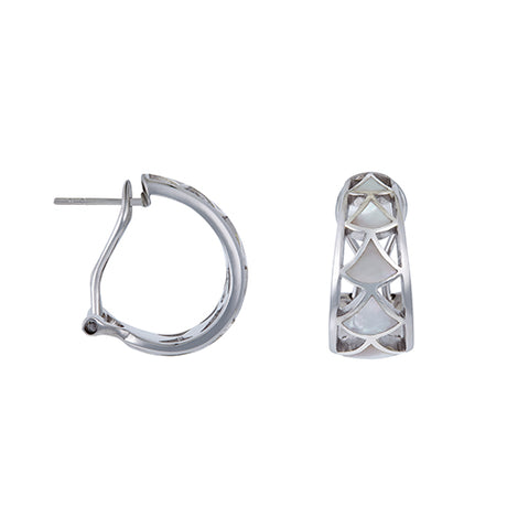 Koi Cascade Mother of Pearl Laser Cut Hoop Earrings - Jan Leslie Cufflinks and Accessories