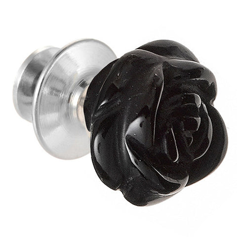 Hand Carved Gemstone Rose Lapel Pin