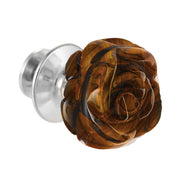 Hand Carved Gemstone Rose Lapel Pin - Jan Leslie Cufflinks and Accessories