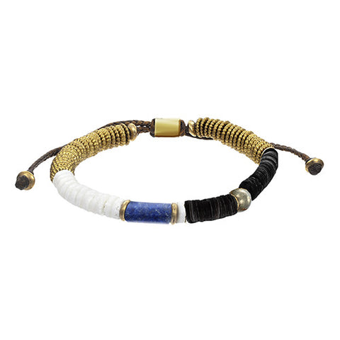 Lapis and Hematite Stackable Modern Tribal Bracelet